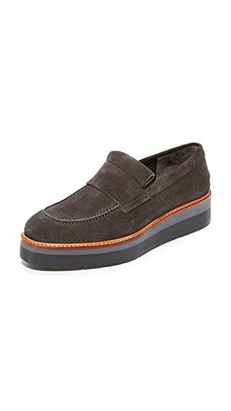 Vince Dorsey Platform Loafers In Tarmac