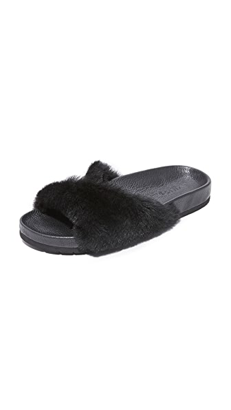 Vince Garrison Fur Slides In Black