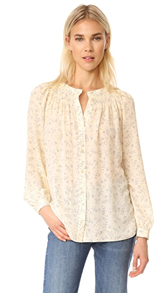 Vince Smocked Long Sleeve Blouse