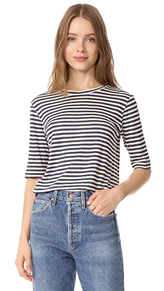 Vince Midi Striped Cropped Tee - Natural/H Coastal