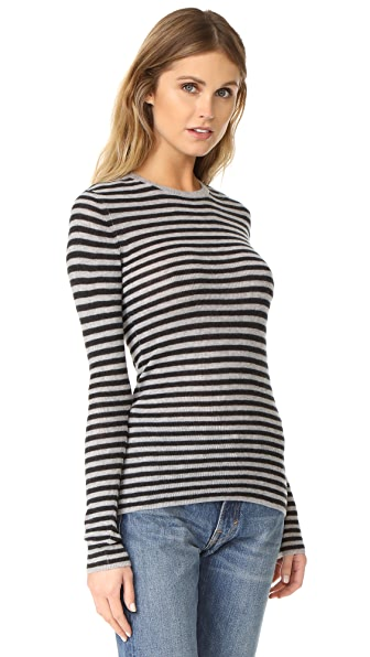Vince Striped Rib Crew Neck Sweater - H Steel/H Carbon