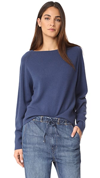 Vince Boat Neck Cashmere Pullover Sweater In Ink