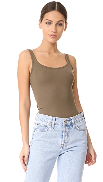 Vince Scoop Neck Tank - Olivewood