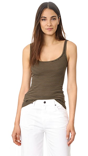 Vince Striped Tank - Olivewood/Black