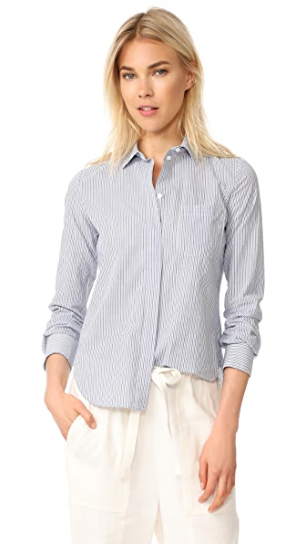Vince Mixed Stripe Fitted Shirt - White/Delft