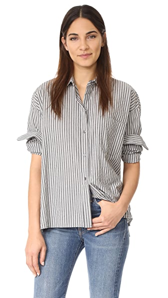 Vince Striped Boxy Shirt - Black/Grey/White