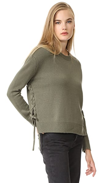 Vince Lace Up Sweater - Olivewood