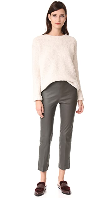 Vince Leather Split Hem Cropped Leggings