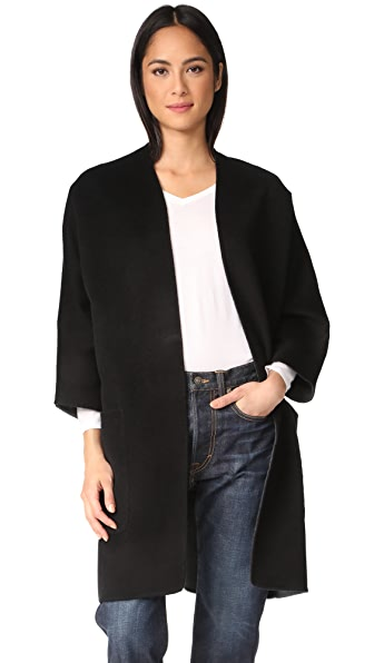 Vince Reversible Cardigan Coat - Black/Heather