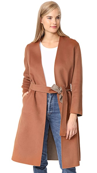 Vince Reversible Belted Coat In Sepia/Heather
