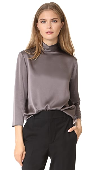 Vince Mock Neck Blouse In Oil