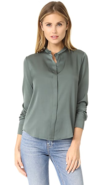 Vince Band Collar Blouse In Pine