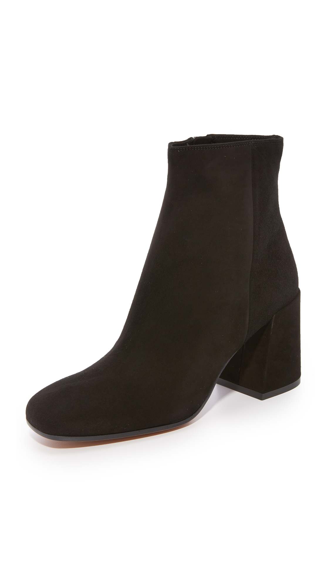 Vince Highbury Classic Square Toe Ankle Booties - Black