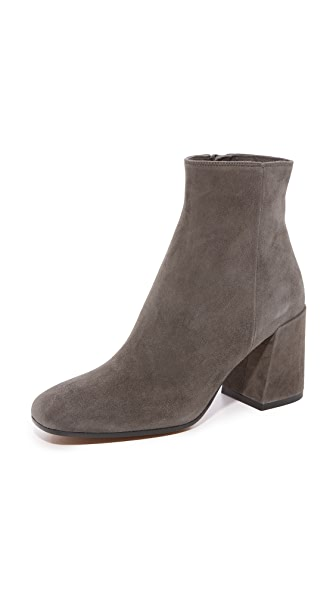 Vince Highbury Classic Square Toe Ankle Booties - Pewter