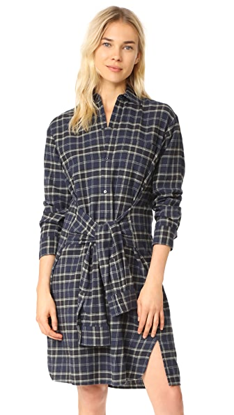 Vince Multi Plaid Tie Front Dress