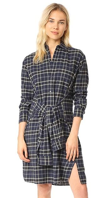 Vince Multi Plaid Tie Front Dress