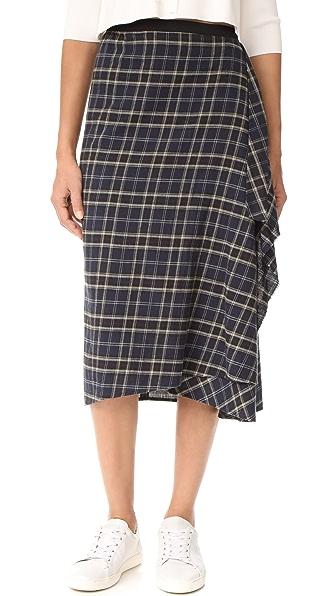 Vince Multi Plaid Drape Front Skirt