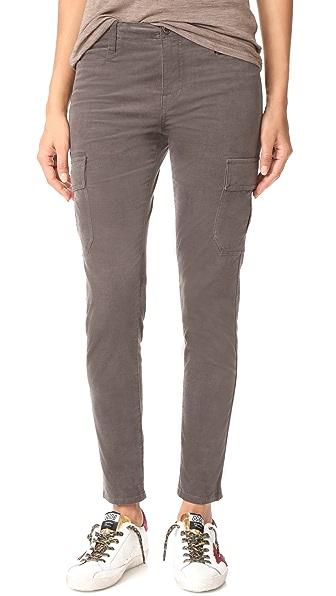 Vince Corduroy Skinny Cargo Pants In Charcoal