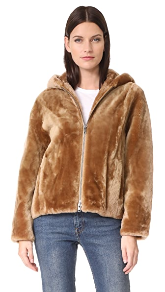 Vince Shearling Hooded Jacket In Camel