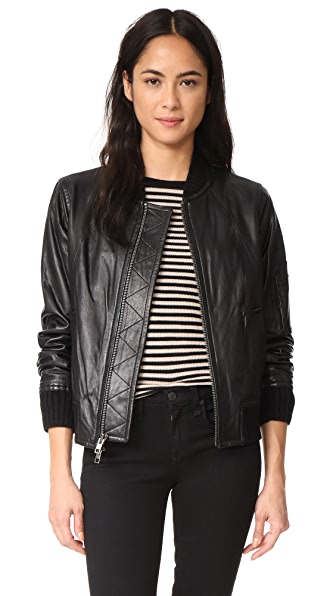 Vince Leather Bomber In Black