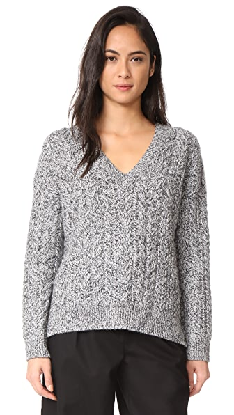 Vince Cable V Neck Sweater - Light Grey/Black