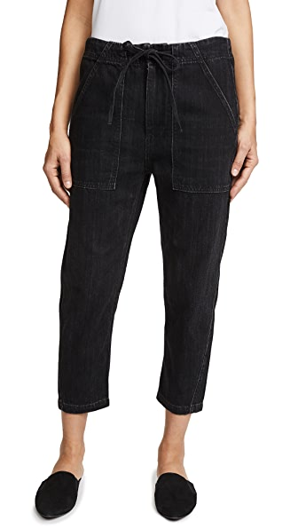 Vince Patch Front Utility Jeans In Dark Black Wash