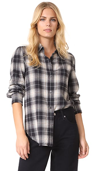 Vince Plaid Fitted Shirt - Black/Creme