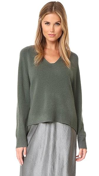 Vince Deep V Cashmere Sweater - Frog