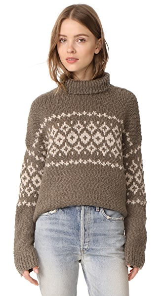 Vince Fair Isle Turtleneck Sweater - Mud/Light Camel