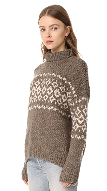 Vince Fair Isle Turtleneck Sweater