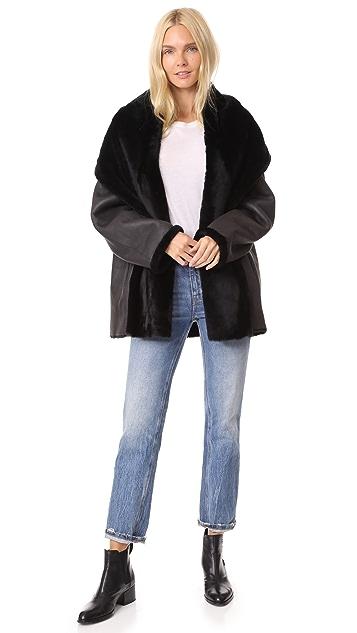 Vince Reversible Shawl Collar Shearling Coat