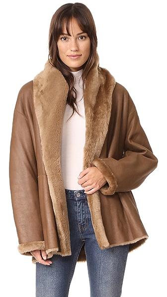 Vince Reversible Shearling Coat - Walnut/Walnut