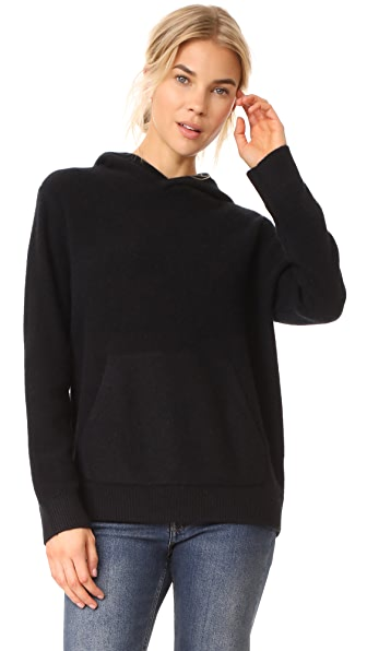 Vince Pullover Cashmere Hoodie - Black