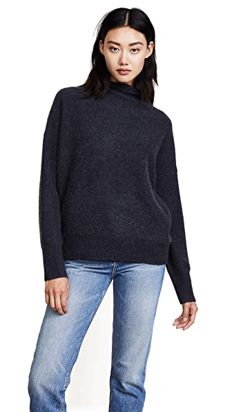 Vince Funnel Neck Cashmere Pullover In Heather Carbon