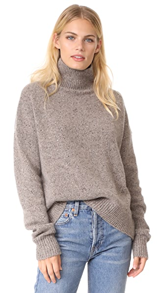 Vince Cashmere Turtleneck Pullover - Heather Ash
