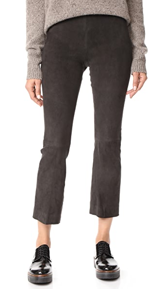 Vince Stretch Suede Flare Pants In Graphite