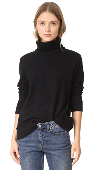 Vince Felted Cashmere Turtleneck Sweater In Black