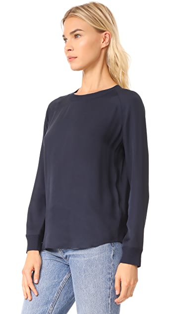 Vince Ribbed Trimmed Long Sleeve Silk Blouse