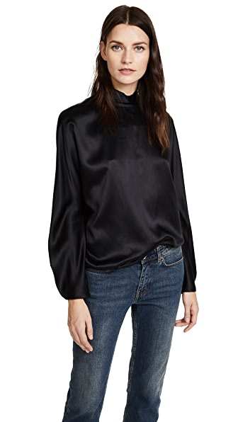 Vince Band Collar Long Sleeve Blouse In Black
