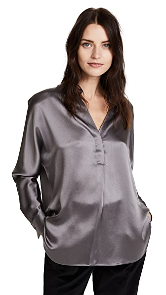 Vince Collar Band Silk Blouse In Wolf