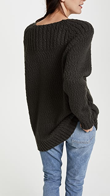 Vince Oversized Popcorn Ribbed Yoke Neck Sweater