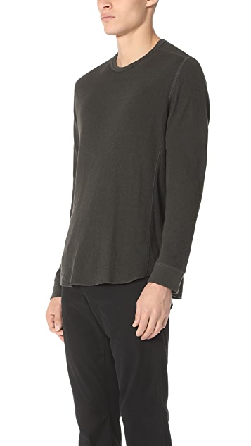 Vince Double Knit Long Sleeve Crew Tee