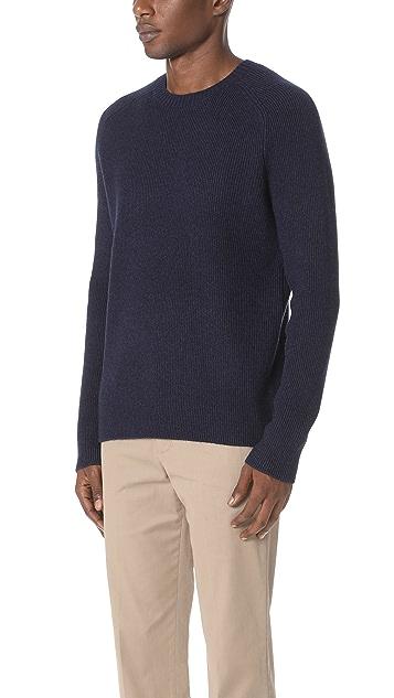 Vince Raglan Ribbed Crew Neck Sweater