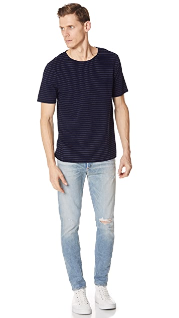 Vince Striped Raw Edge Tee