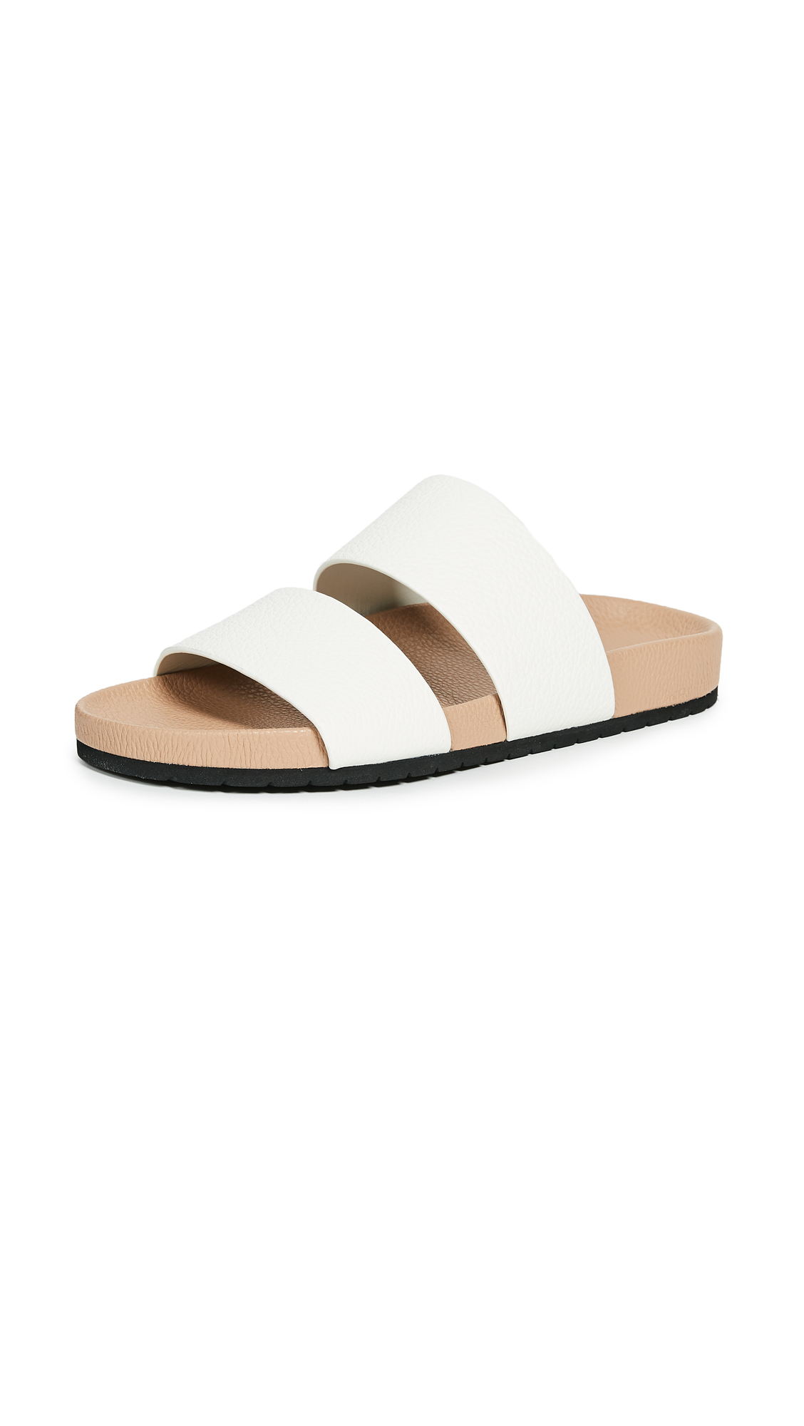 Vince Georgie Two Band Slides - White/Nude