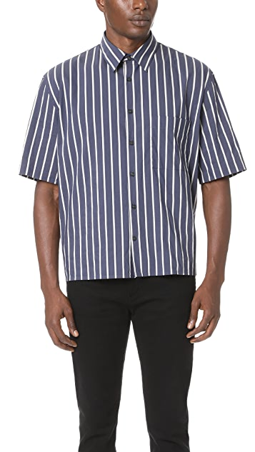 Vince Narrow Stripe Double Pleat Back Short Sleeve Shirt