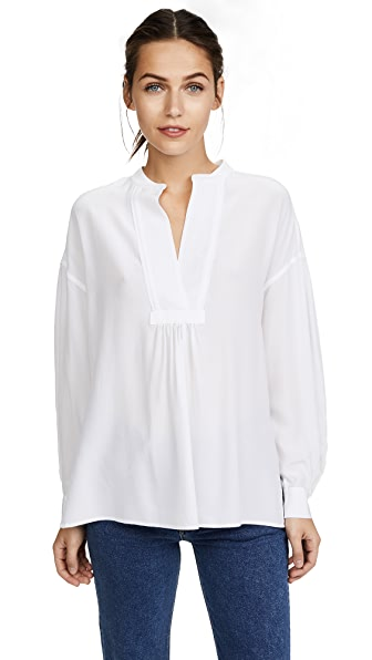 Vince Shirred Blouse In White Chalk