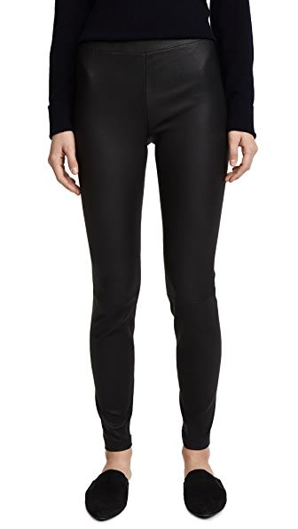 Vince Leather Zip Ankle Leggings In Black