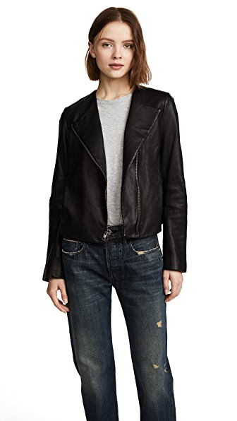Vince Cross Front Leather Jacket In Black