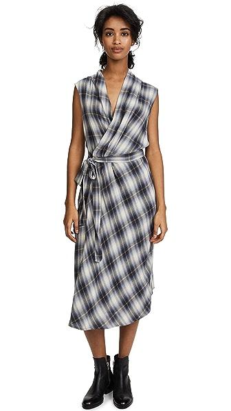 Vince Shadow Plaid Sleeveless Wrap Dress at Shopbop